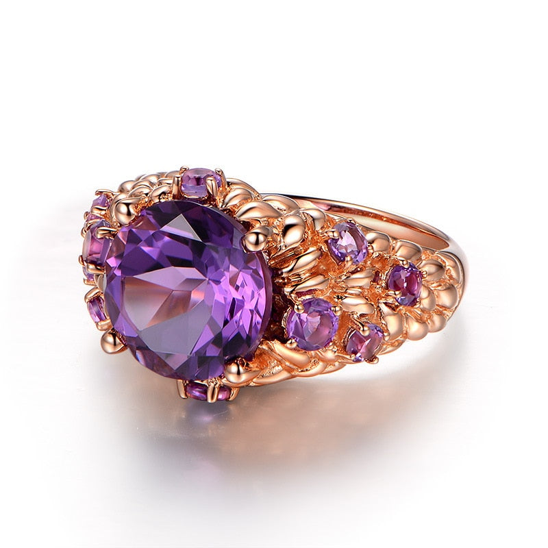 Natural Healing Amethyst Stones on 14K Rose Gold Plated Ring