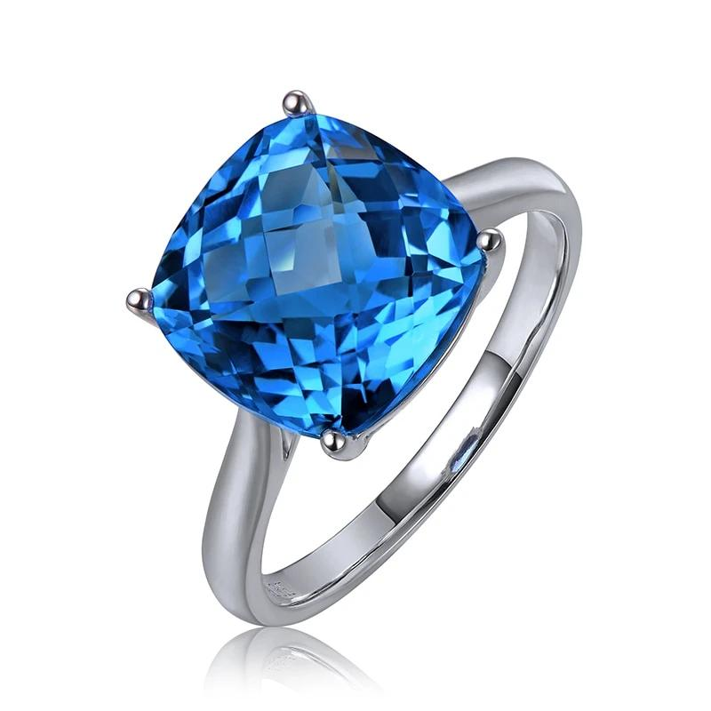 6.65ct Natural Healing Topaz on 14K Solid White Gold Ring