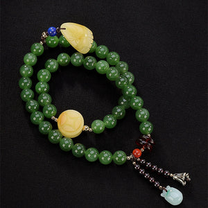 Natural Healing Green Jasper Beads Bracelet 2 Layers Amber Charm