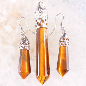 Natural Healing Stones Jewelry Sets Pendant and Earrings Hexagonal Shape 15 Varieties