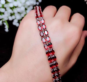 Natural Healing Garnet on 925 Sterling Silver Bracelet