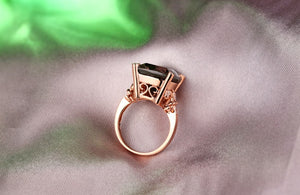 14K Solid Rose Gold Ring with 10.21ct Genuine Healing Smoky Topaz and 0.15ct Natural Diamonds