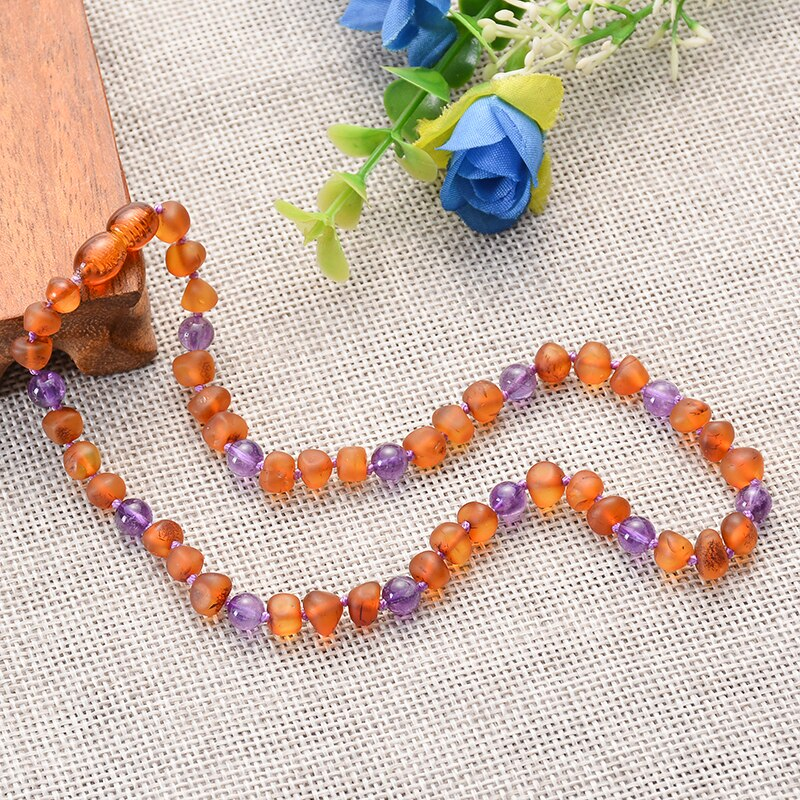 Genuine Healing Baltic Amber Teething Necklace with Real Amethyst / Turquoise / Quartz Stones