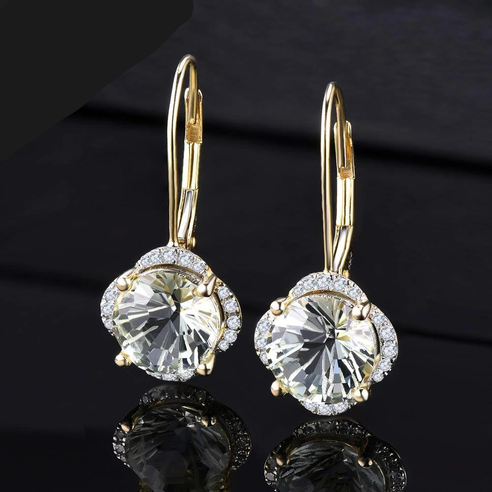 14K Solid Gold Earring with Natural Healing 3.79ct Green Amethyst and Diamonds