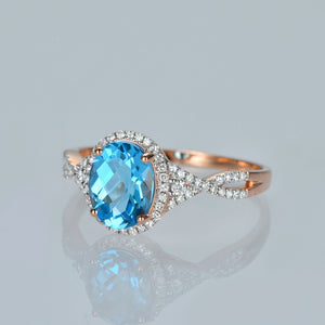 2.01ct Natural Healing Topaz and 0.28ct Diamonds on 14K Solid Rose Gold Ring