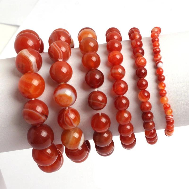 Natural Healing Orange Agate Stones Bracelet 4-6-8-10-12-14mm