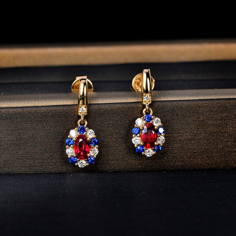 0.72ct Authentic Ruby with Genuine Diamonds and Sapphires on 14k Solid Yellow Gold Earrings
