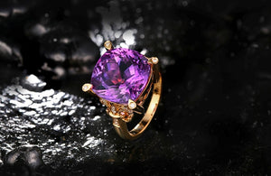 8.72ct Genuine Healing Amethyst on 18kt Solid Gold Ring Accented by 0.14ct Natural Diamonds
