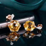 14K Solid Rose Gold 7.98ct Genuine Healing Citrine with 0.11ct  Diamond Earrings