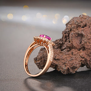 18k Solid Rose Gold Ring with 1.02ct Genuine Healing Pink Sapphire &  0.65ct Natural Diamonds