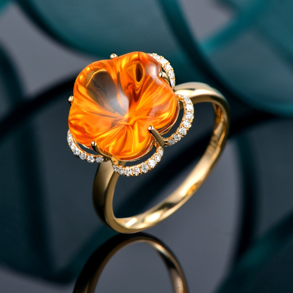 Flower Shape 9.75ctw Genuine Healing Citrine & Diamonds on 14K Solid Yellow Gold Ring