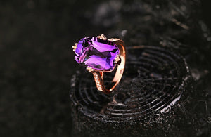 9.85ct Genuine Healing Amethyst on 18kt Solid Gold and 0.20ct Natural Diamond Ring