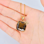 20.68ct Natural Healing Smoky Quartz 14K Solid Yellow Gold 0.12ct Diamonds Pendant