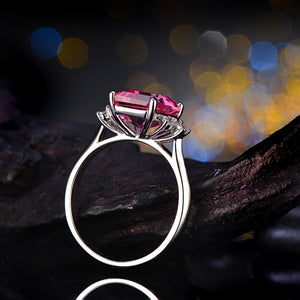 14K Solid Gold Ring 2.78ct Authentic Healing Pink Topaz 0.28ct Genuine White Sapphires
