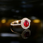 1.21ct Natural Healing Ruby with Authentic Diamonds on 14K Solid Yellow Gold Ring