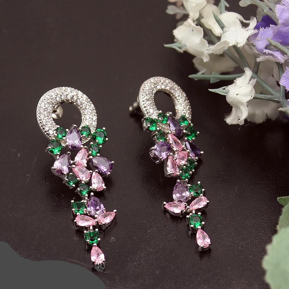 Natural Healing Kunzite Amethyst Diopside Stones Earrings