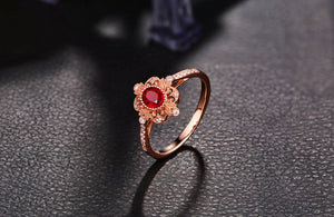 14K Solid Rose Gold Ring with 0.59ct Natural Healing Ruby and Genuine Diamonds