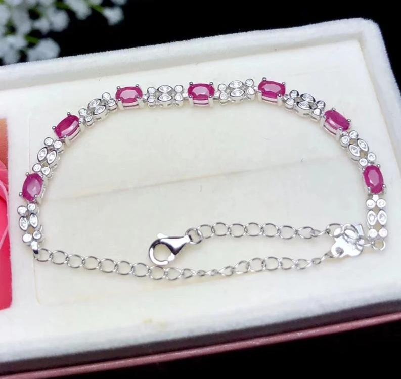 Authentic Healing Ruby on 925 Sterling Silver Bracelet