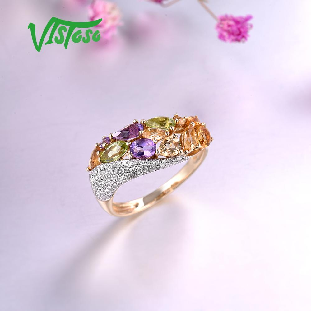 14K Solid Yellow Gold Ring with Authentic Healing Diamonds Citrine Amethyst Peridot