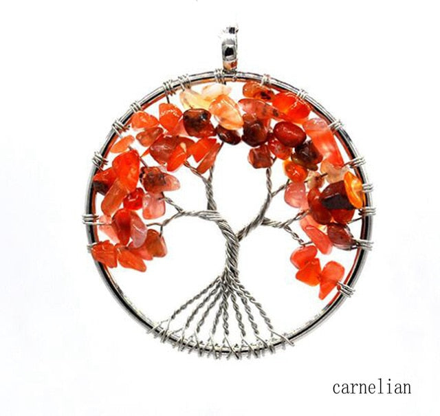 Beautiful Genuine Stone Beads Tree of Life Reiki Healing Necklace Pendant
