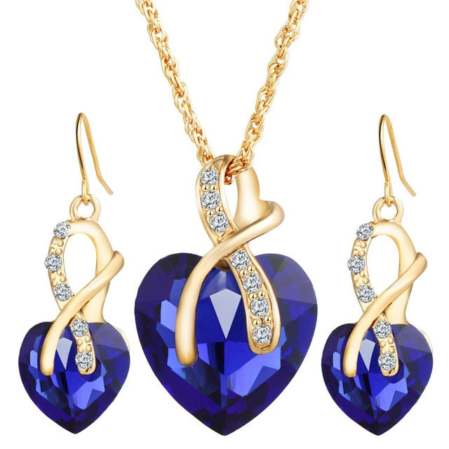Real Healing Cubic Zirconia Gems on Gold Plated Jewelry Set