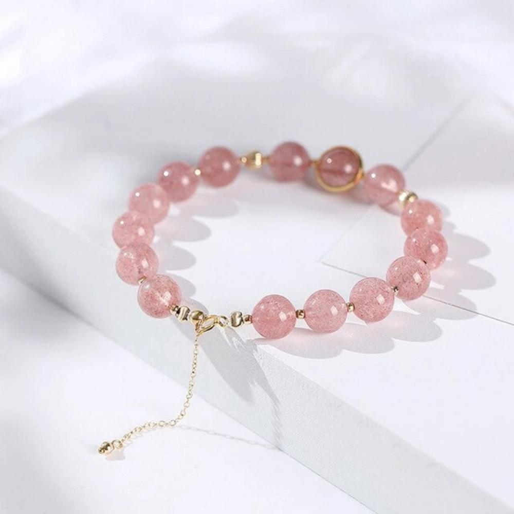 Genuine Healing Fluorite Moonstone or Strawberry Quartz Beads Bracelet