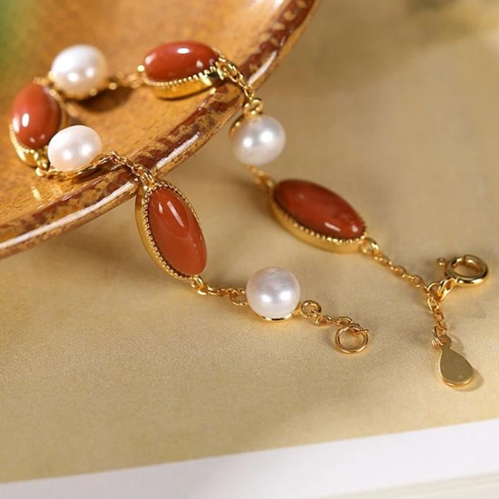 Natural Healing Agates with Pearls Bracelet 925 Silver + Gold Plated