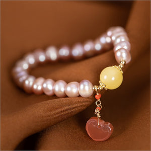 Authentic Healing Freshwater Pearls Bracelet with Agate and Amber