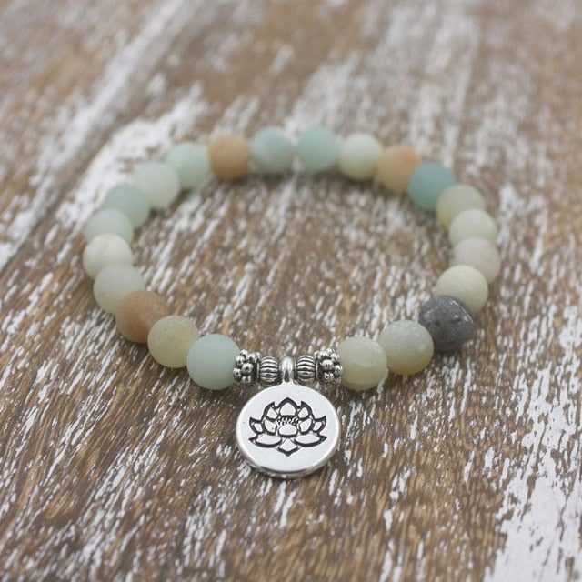 Real Healing Amazonite Stones Bracelet with Lotus Ohm Buddha Charm