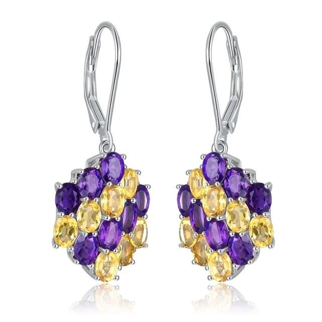 925 Sterling Silver Earring with Genuine Healing Citrine / Amethyst  or Peridot / Diopside