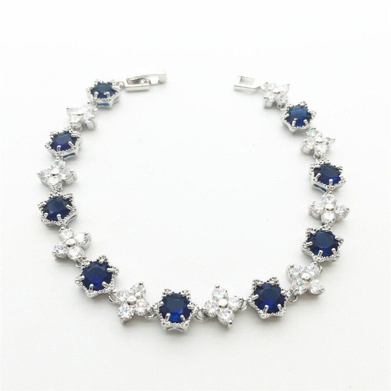 Real Healing Blue and White Cubic Zirconia Gems on Silver Plated Bracelet