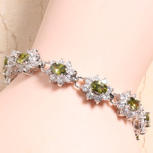 Real Healing Green and White Cubic Zirconia Gems on Silver Plated Bracelet