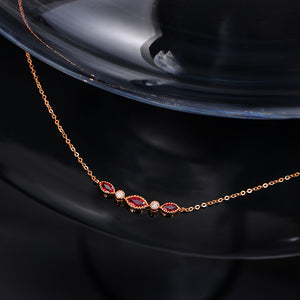 Natural Healing Ruby with Genuine Diamonds on 14K Solid Rose Gold Pendant