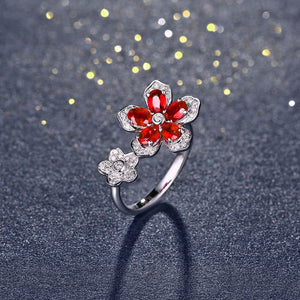 18K Solid White Gold Ring with 1.22ct Natural Healing Ruby and 0.17ct Genuine Diamonds