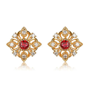 Solid 18k Gold Earring with Authentic Healing Ruby and Genuine Diamonds