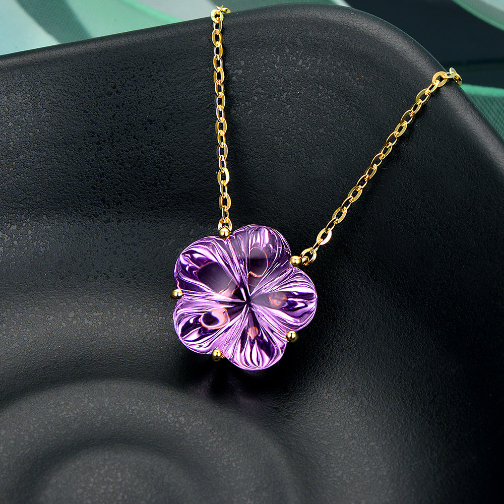 9.26ct Flower Shaped Genuine Healing Amethyst 14k Solid Gold Pendant