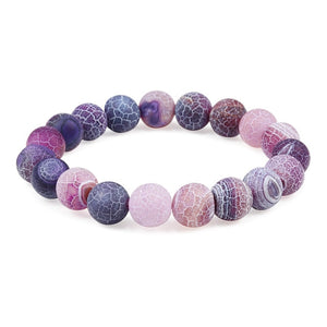 Natural Healing Weathered Agate Stone Bead Bracelet