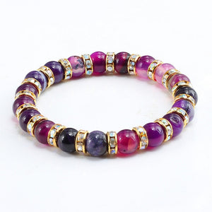 Genuine Healing Purple Agate Bracelet and Different Colors Rhinestone