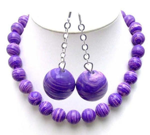 "14mm Genuine Healing Agate 18"" Necklace with Dangle Round Earring Jewelry Set"