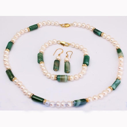Genuine Healing Green Agate and White Freshwater Pearl Classic Jewelry Set