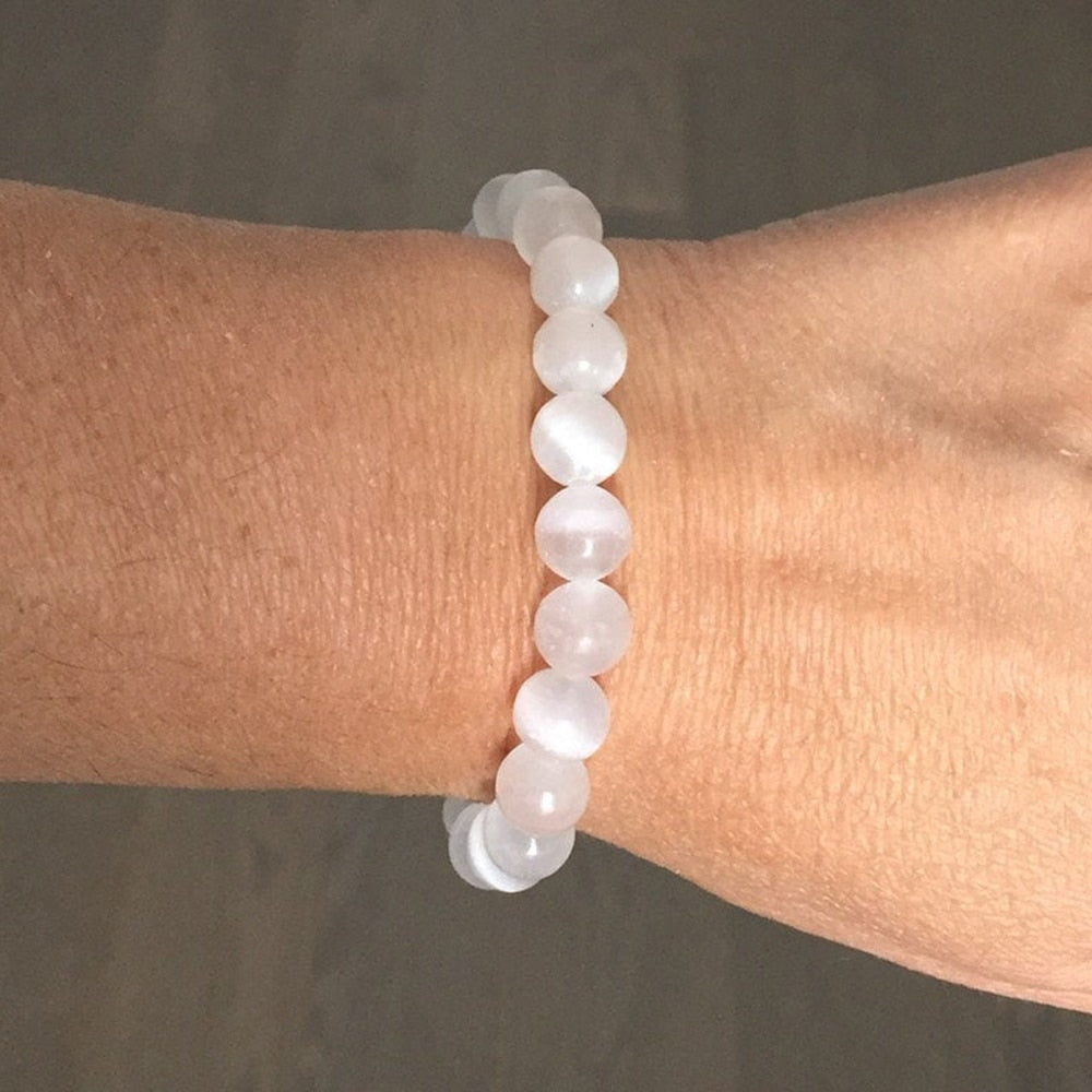 8mm Genuine Healing Selenite Stone Beads Bracelet