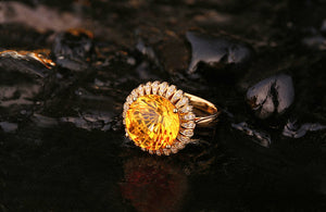 7.59ct Natural Healing Citrine on 14K Solid Yellow Gold Ring with 0.23ct Natural Diamonds
