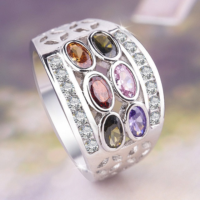 2 Models 925 Silver Plated Ring with Genuine Healing Multicolor Cubic Zirconia Stones