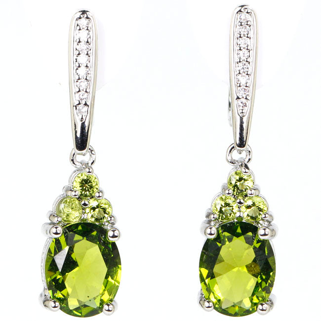 Natural Healing Peridot and White CZ on Silver Plated Earrings