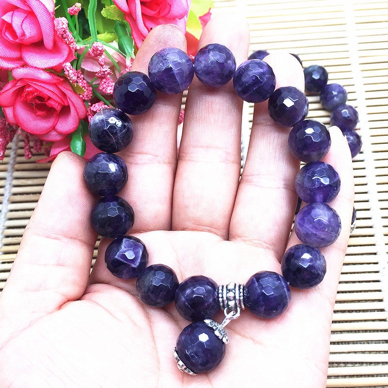 Authentic Healing Amethyst Stone Faceted 12mm Beads Charm Bracelet