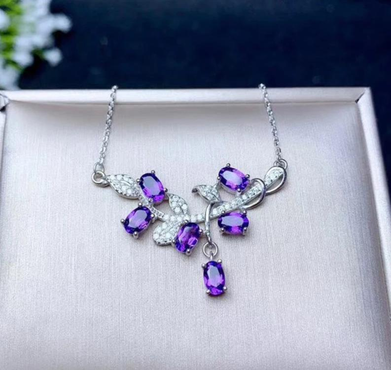 Natural Healing Amethyst on 925 Sterling Silver Necklace