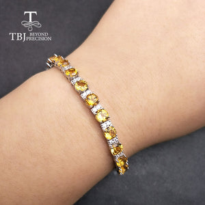 Genuine Healing Garnet Citrine or Topaz on 925 Sterling Silver Bracelet