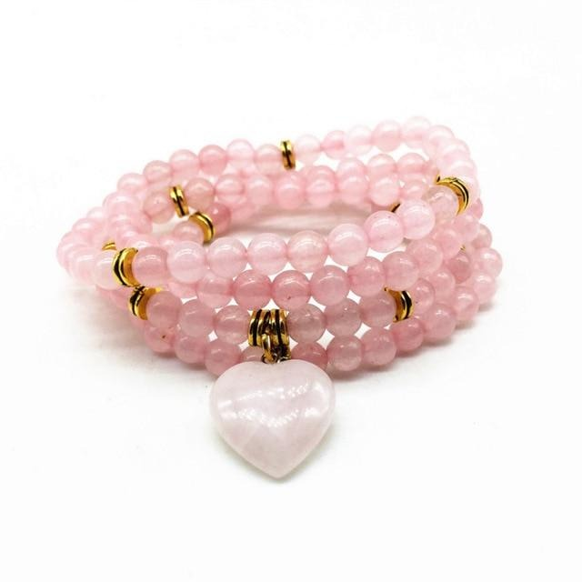 Genuine Healing Stone Beads Bracelet or Necklace Heart Charm 21 Varieties