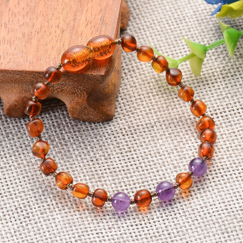 Genuine Healing Baltic Amber Teething Bracelet with Natural Amethysts or Turquoise Stones