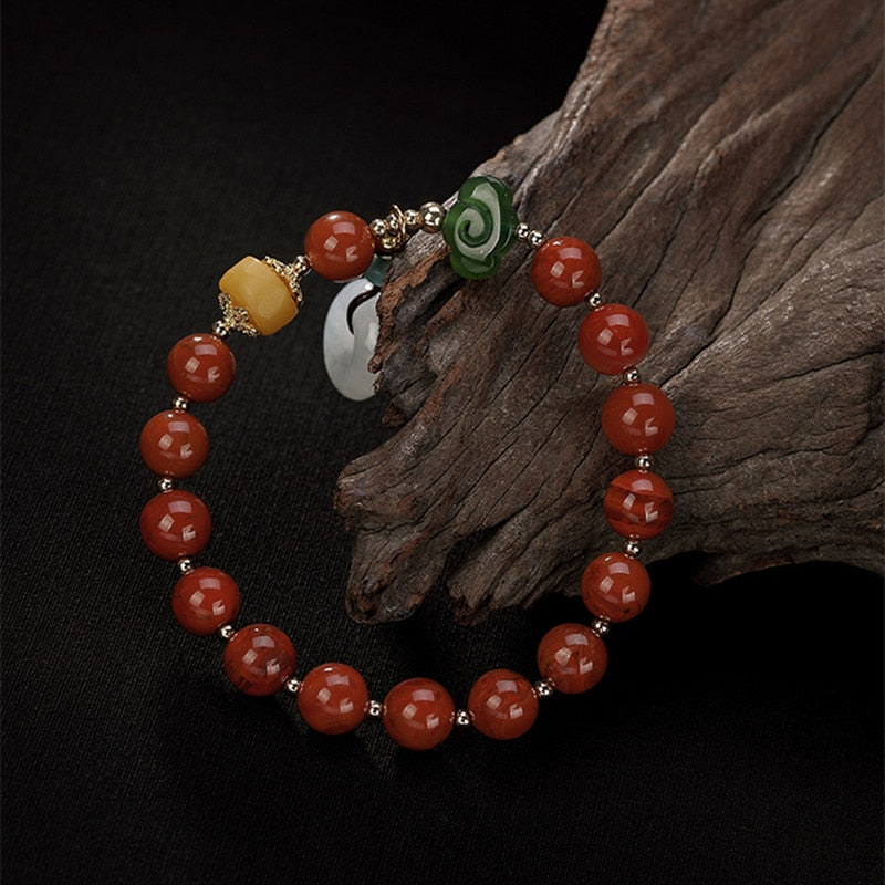 Real Healing Agate Bracelet with Emerald Jade Amber Charms